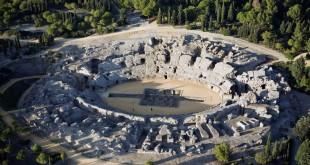 Vue aérienne de l'amphithéâtre d'Italica