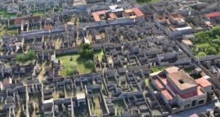 Une vue du projet  Digital Pompéi de modélisation 3D du site archéologique en son entier.