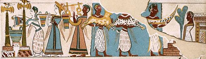 Vue d'une des faces du sarcophage d'haghia Triada, dessin de M. Collignon in La Gazette des Beaux-Arts, 1909.