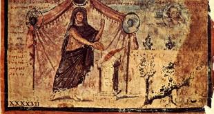 Image 47 de l'Iliade ambrosienne, Achille dédiant un sacrifice à Zeus. (source : wikipedia)