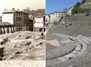Le Dauphiné / VIENNE [AVANT/APRES] Un mur pour le fond de scène du Théâtre antique ?