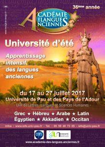Université d'été, apprentissage intensif des langues anciennes @ Université de Pau | Pau | Nouvelle-Aquitaine | France