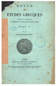 Tous les numéros de la Revue des Etudes Grecques sont gratuitement consultables en ligne.