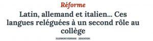 La Montage / Latin, allemand et italien... Ces langues reléguées à un second rôle au collège