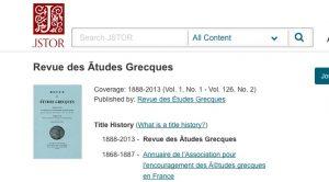 La Revue des Etudes Grecques est désormais accessible sur le JSTOR