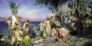 Phryné aux fêtes de Poséidon à Eleusis, Henryk Siemiradzki (1889)