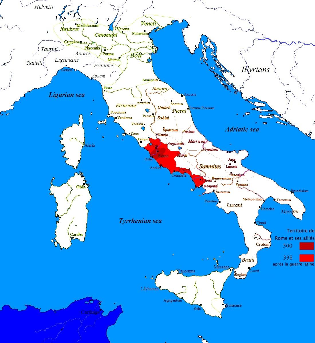 Carte animée de l'expansion du territoire romain dans la ...