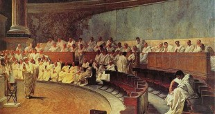 Niveau 3ème - Commenter en latin un tableau de Maccari : Cicero Catilinam denuntiat