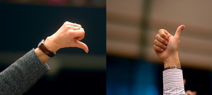 """""""Indications de vote: pouce vers le bas, pouce vers le haut."""" (source : Site du Parlement Européen"""