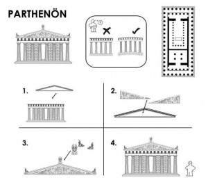 Le plan à monter du Parthenon
