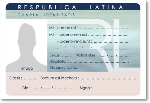 Modele Carte Identite Italienne.Carte D Identite Tessera Agnitionalis De L Eleve Latiniste