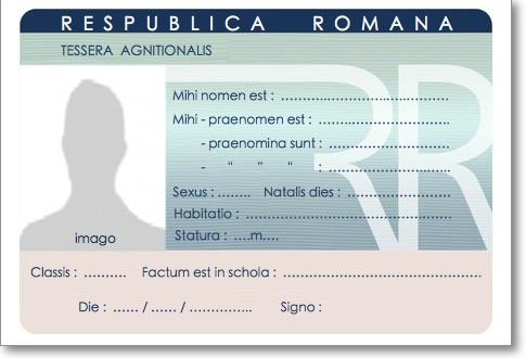 carte d identité vierge à remplir Carte d'identité / Tessera agnitionalis de l'élève latiniste