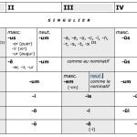 Tableau synthétique des terminaisons des 5 déclinaisons nominales du latin