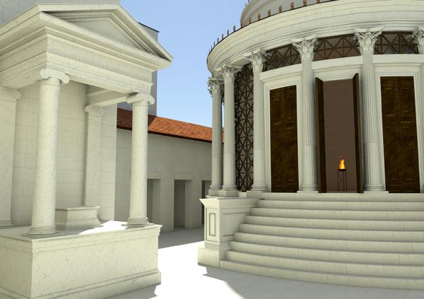 « Le temple de Vesta avec sa flamme sacrée. »