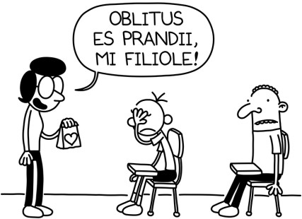 (RNS2-may7) A drawing from 'Diary of a Wimpy Kid' in Latin. For use with RNS-WIMPY-LATIN, transmitted on May7, 2015, Photo courtesy of Il Castoro