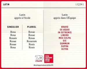 Quand l'équipe plaisante avec le latin...