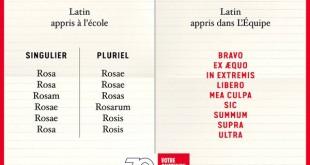 """Quand l'équipe plaisante avec le latin... """"Épargnez les cours de latin, lisez L'ÉQUIPE."""""""
