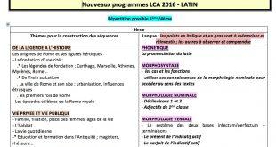 Tableaux synthétiques des nouveaux programmes LCA du collège