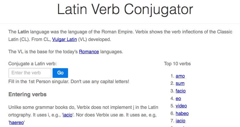 Verbix Le Conjugueur Automatique De Verbes Latins Arrete Ton Char