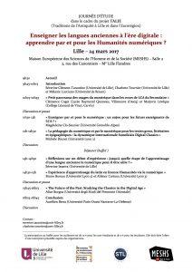 Rencontre LCA / Lille : Enseigner les langues anciennes à l'ère digitale : apprendre par et pour les Humanités numériques ?