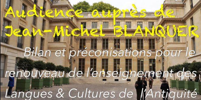Bilan et préconisations au Ministre, Jean-Michel Blanquer, pour le renouveau de l'enseignement des LCA