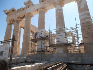 Quelques photos de l'avancée des travaux de réfection du Parthénon