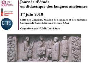 Journée d'études de Didactique des LCA - Grenoble - 1er juin 2018