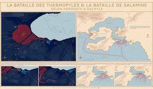 La Vie des Classiques propose un (très beau) nouveau poster :  La Bataille des Thermopyles et la bataille de Salamine