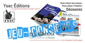 Résultat du Jeu-Concours Pax Romana (Ysec éditions)