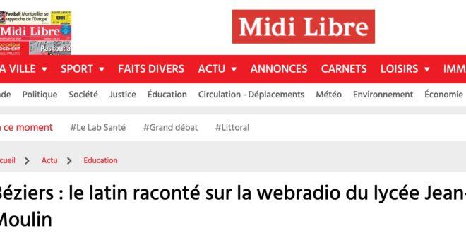 Béziers : le latin raconté sur la webradio du lycée Jean-Moulin
