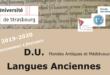 D.U. de langues anciennes de l'université de Strasbourg