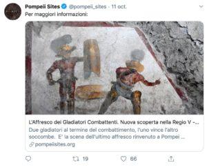 Pompéi : découverte d'une fresque représentant un combat de gladiateurs ensevelie depuis 20 siècles